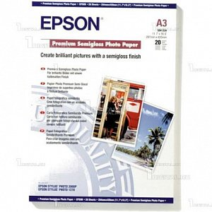 Фотобумага Epson A3, 300 г/м2 (20 л) полуглянцевая (C13S041334)EpsonPremium Semigloss Photo Paper